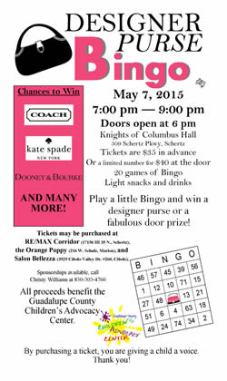 Designer Purse Bingo May 7, 2015